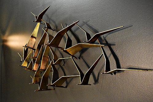 Vintage Curtis Jere Birds In Flight Wall Sculpture in Brass