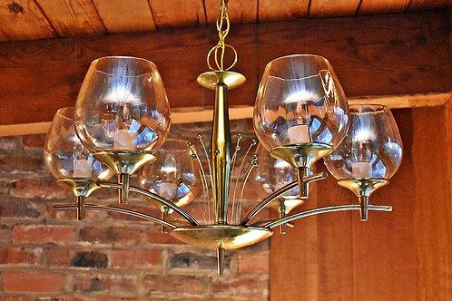 Mid Century Atomic Brass / Glass Chandelier