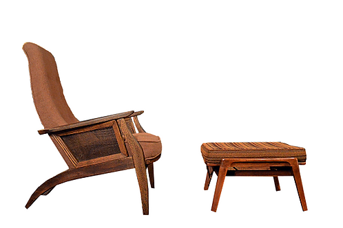 Mid Century Pearsall Style Sculptural Lounge Chair and Ottoman