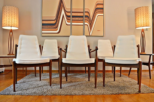 Mid Century Danish Style Rosewood Dining Chairs by United - Set of 6