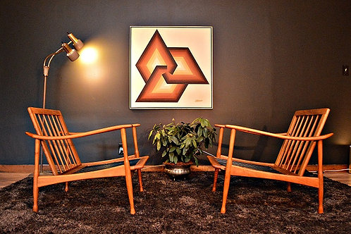 Pair of Mid Century Italian Danish Style Lounge Chairs