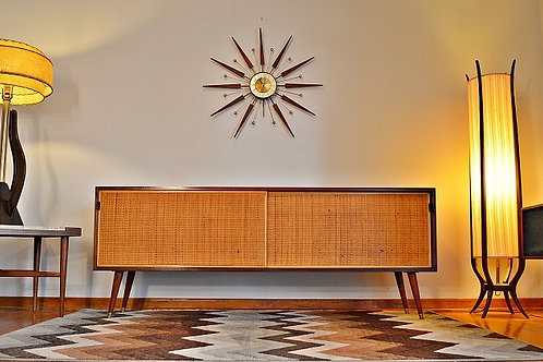Mid Century Florence Knoll Walnut and Cane Credenza