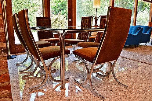 Mid Century Milo Baughman Style Chrome Dining Set