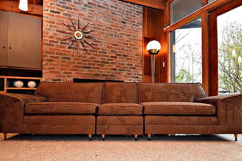 Gorgeous Mid Century Atomic Era 1950's 3pc Sofa Sectional