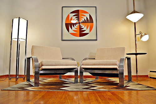 Mid Century Milo Baughman for Thayer Coggin Tubular Chrome Lounge Chairs