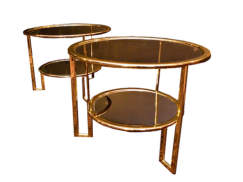 Pair of Mid Century Milo Baughman Style Glass and Gold Metal Round Side Tables
