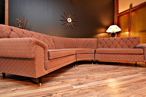 1950's Mid Century Atomic Era 3pc Curved Sectional Sofa