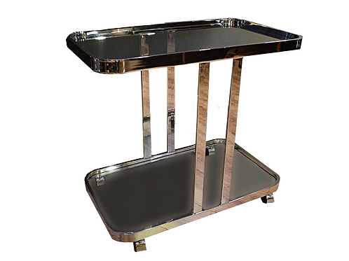 Mid Century Modern 1970's Milo Baughman Chrome Bar Cart