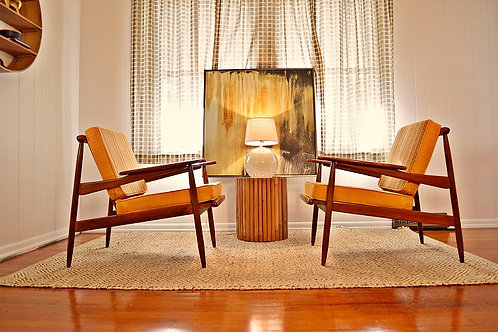 Pair of Mid Century Danish Modern Lounge Chairs with Reversible Fabric