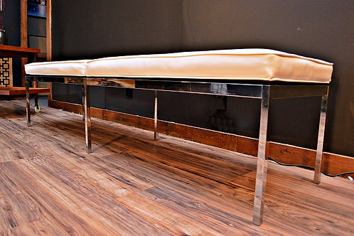 Mid Century Florence Knoll 3 Seat Chrome Tufted Bench