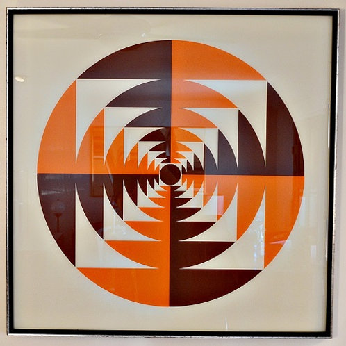 1970's OpArt Serigraph Square Circle Abstract Print by Turner, Framed