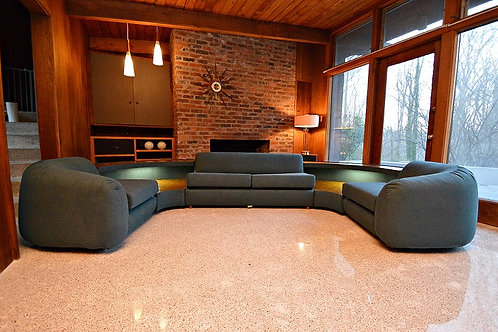 Mid Century LARGE 5 Piece Versatile Lighted Sectional Sofa - 1970's