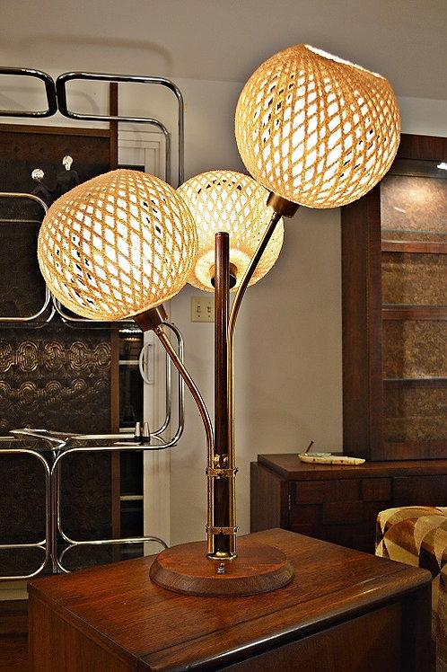 Large Danish Mid Century Triple Flower Lamp