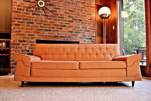 Mid Century Wide Arm Atomic Era Sofa / Couch