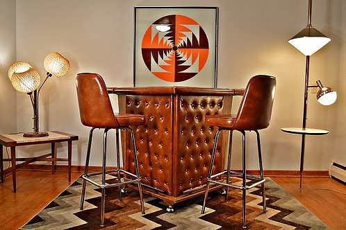 Mid Century Retro Tufted Home Cocktail Bar with Matching Stools