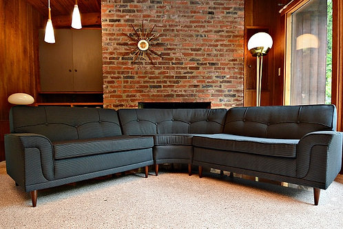 Atomic Era Mid Century 3pc Curved Sectional by Kroehler Galaxy