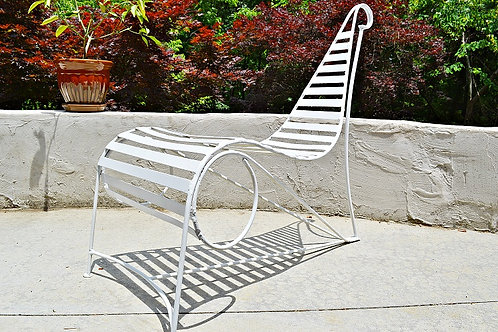 Vintage Sculptural Iron Spine Lounge Chair after Andre Dubreuil