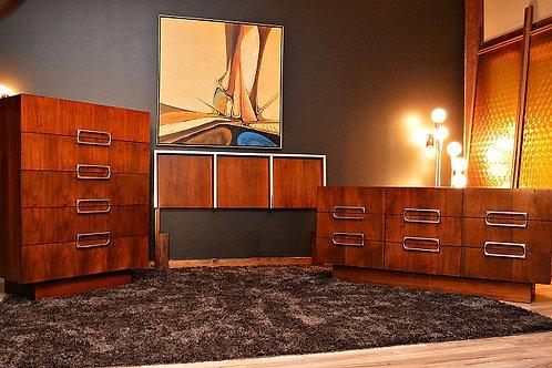 Mid Century Baughman Style Bedroom Set - Dresser, Highboy, Headboard