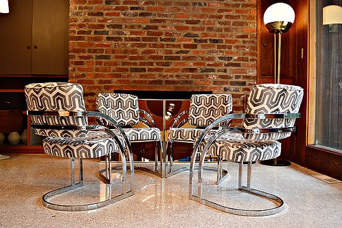 Mid Century Curved Chrome Chairs Attributed to Milo Baughman