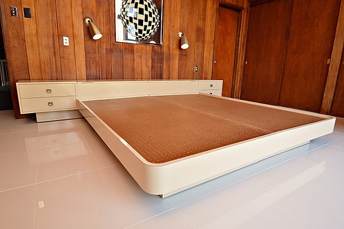 Mid Century 1960's King Platform Bed with Storage and Nightstands