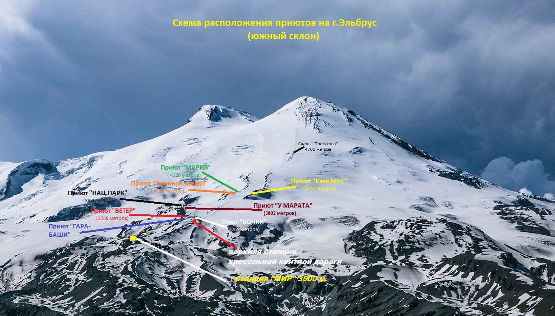 Приют на Эльбрусе карта 2