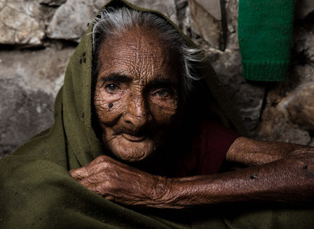 OLD LADY in Rishikesh, India