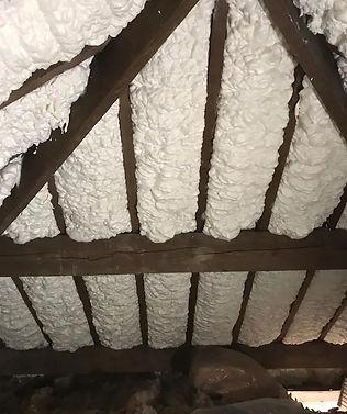 Spray foam insulation inside a loft