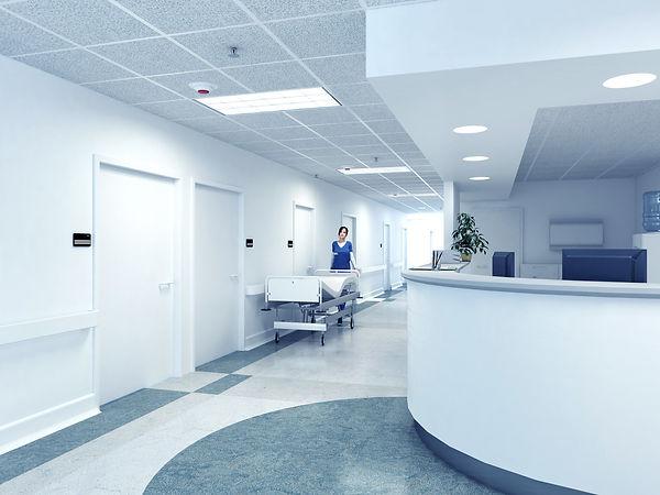 Hospital reception desk after hours