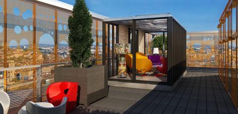 Long ( 13,50 m² ) sur une terrasse