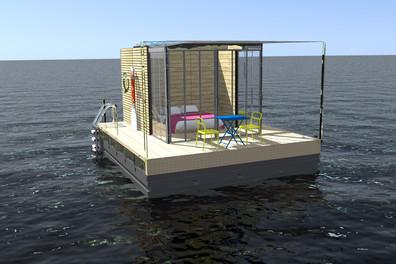 Cube sur l'eau ( 3D )