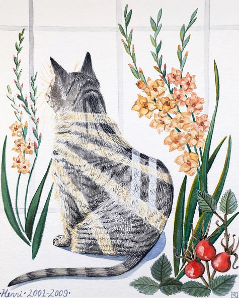 Watercolor Painting: Henri in the Window With Gladiolus and Rosehips. A memorial pet portrait of a tabby cat, flanked by botanicals.