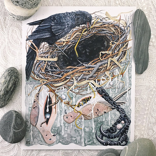Crow's Nest Original Watercolor Painting