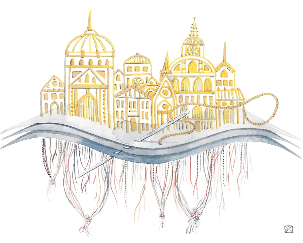 Watercolor Illustration: Embroidery. A needle and thread pierce through three waving layers of gray fabric. On the top side, gold threads rise into ornate, domed and spired architectural structures. Underneath, loose, tangled threads dangle and knot.