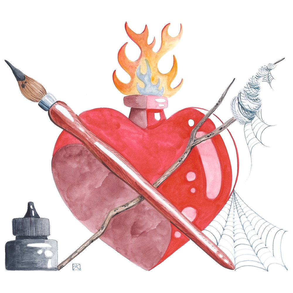 Watercolor Illustration: Creative Heart. A paintbrush and a stick bearing rolled-up cobwebs, crossed before a flaming heart. A bottle of black ink sits to the left, a fresh spiderweb trails off brush handle and heart to the right.