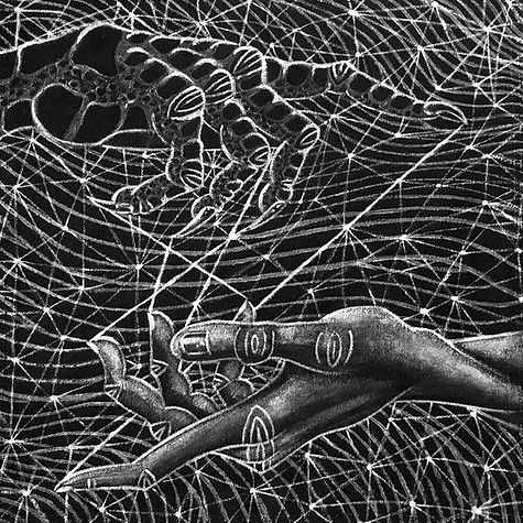 Painting: Weaver & Web. Two hands, one half-human, half-crow, connected by sticky, silver threads, against an abstract, webbed background. By artist Evvie Marin