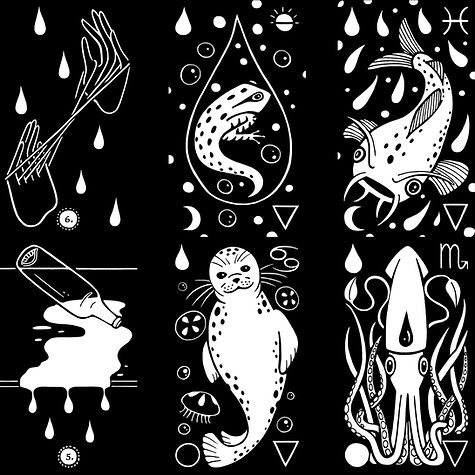 Black Ink Tarot Preview: the suit and court of drops.
