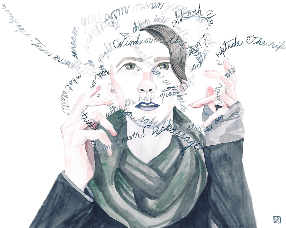 Watercolor Illustration: a self portrait of artist in a chunky, green scarf, tracing a cloud of brushed script words--poetic scraps--winding around their head and trailing through their fingers.