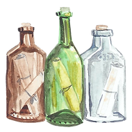Watercolor Icon: messages in bottles