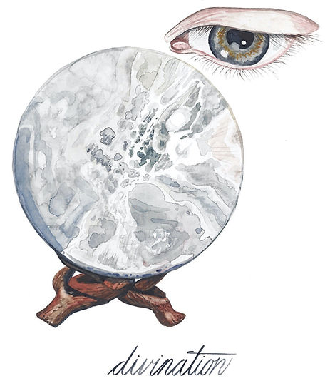 Divination. Watercolor illustration: a gray-green eye gazes into a selenite crystal ball. Click here to visit my tarot site, Interrobang Tarot.