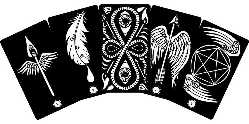 Black Ink Tarot Preview: aces and backing design. By multimedia artist Evvie Marin.