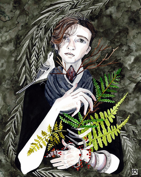Watercolor Illustration: Self Portrait With Mockingbird and Ferns.