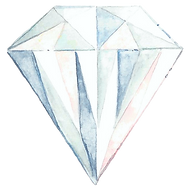 Watercolor Icon: diamond gem