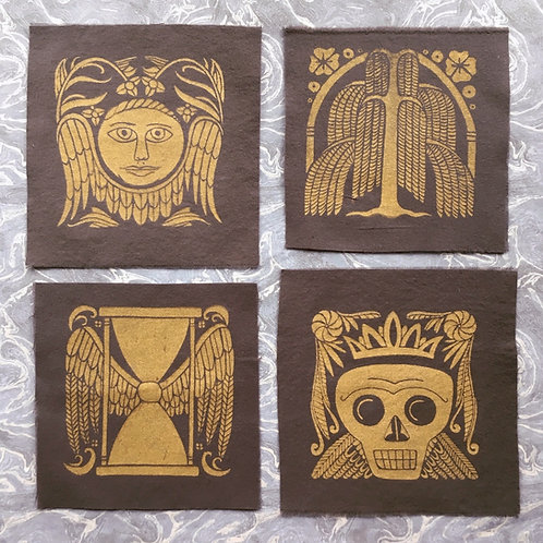 Set of 4 Old Burying Ground Mini Patches, Gold on Charcoal Gray
