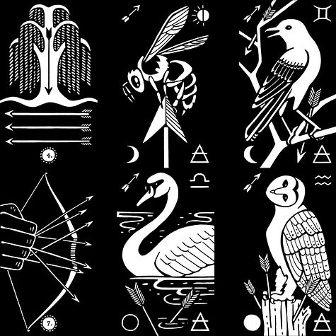 Black Ink Tarot Preview: the suit and court of arrows. By multimedia artist Evvie Marin of Interrobang Tarot.