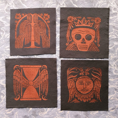 Set of 4 Old Burying Ground Mini Patches, Copper on Charcoal