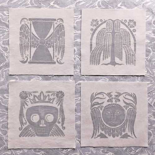 Set of 4 Old Burying Ground Mini Patches, Silver on Ghost Gray