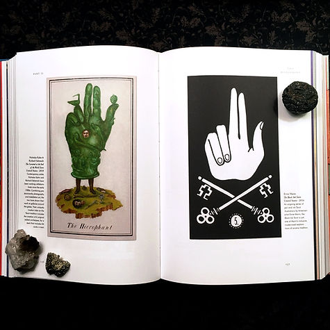 Photograph: Taschen's TAROT book, open to a page on the Hierophant.