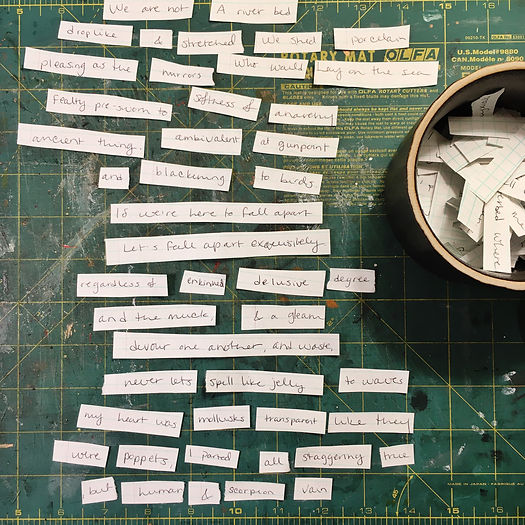 Photograph: word soup cut-up poetry forming the melody part of Four Bottles, Out To Sea.