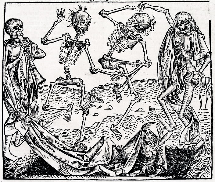 Antique Illustration: Danse Macabre, Michael Wolgemut, 1493. Skeletons dancing and playing horn over an open grave in an allegorical death woodcut.