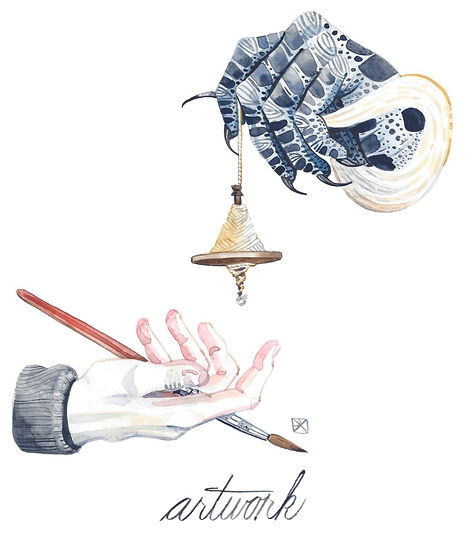 Artwork. Watercolor illustration: a blue hand covered in crow tattoos lowers a drop spindle toward a on open hand holding a paintbrush. Click here to visit paint and illustration galleries by Evvie Marin.